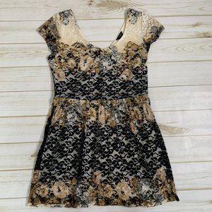 Lace a-line dress pastel black white by Topshop